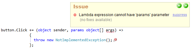 CodeRush Lambda Expression Cannot Have Params Parameter Preview