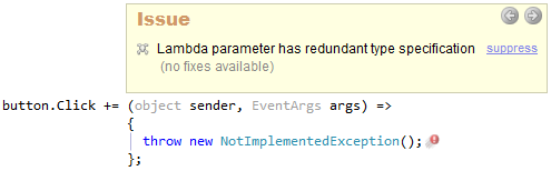 CodeRush Lambda Parameter Has Redundant Type Specification Preview