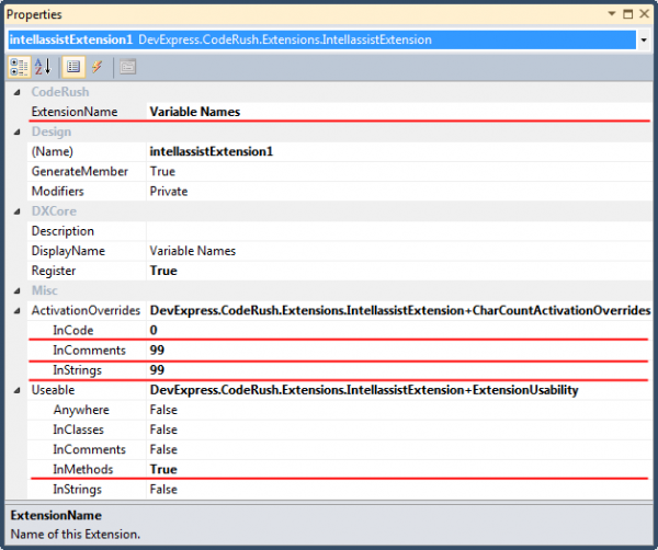 DXCore custom Intellassist Extention properties