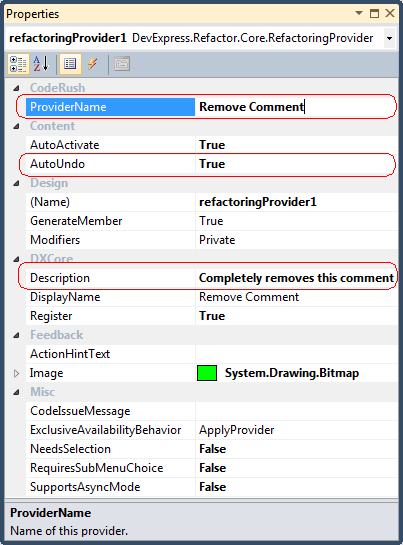 DXCore Refactoring Provider sample properties