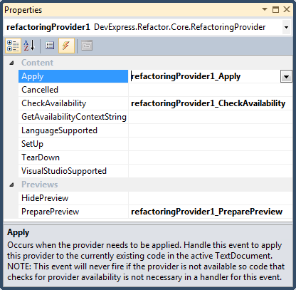 DXCore Refactoring Provider sample subscribed events