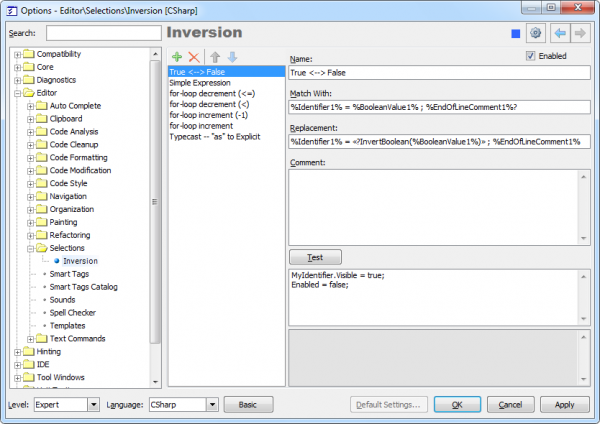 CodeRush Selection Inversion options page