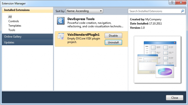 DXCore VsixStandardPlugIn Extension Manager