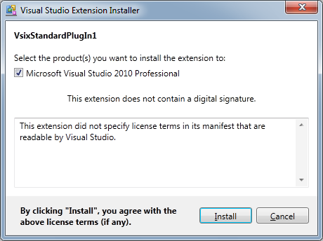 DXCore VsixStandardPlugIn installer