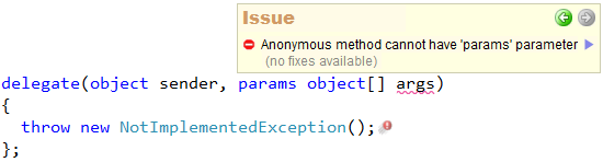 CodeRush Anonymous method cannot have params parameter