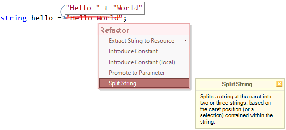 Refactorings - Split String caret preview