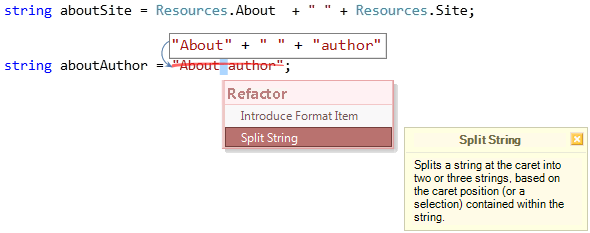 Refactorings - Split String for localization preview