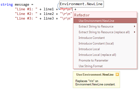 Refactorings - Use Environment.NewLine preview