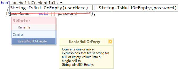 Use IsNullOrEmpty code provider preview