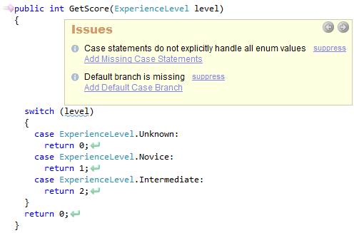 CodeRush Case Statement Do Not Explocitly Handle All Enum Values Sample