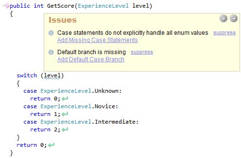 CodeRush Case Statement Do Not Explocitly Handle All Enum Values Sample