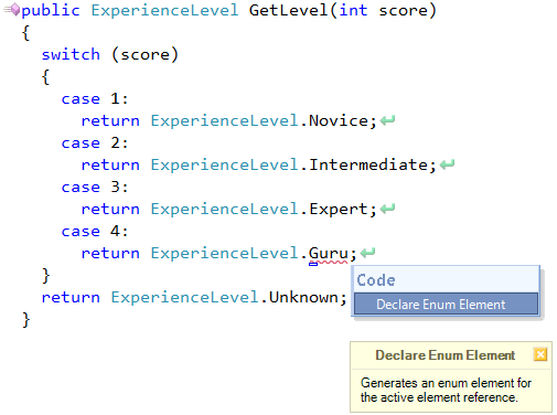 CodeRush Declare Enum Element preview