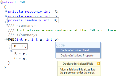 CodeRush Declare Initialized Field preview