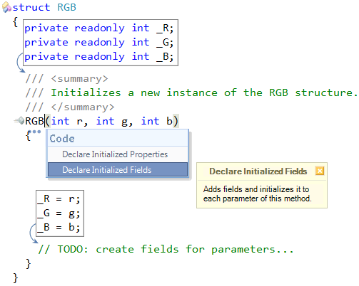 CodeRush Declare Initialized Fields preview