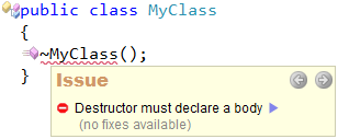 CodeRush - Destructor must declare a body