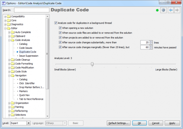 CodeRush Duplicate Code Options Page