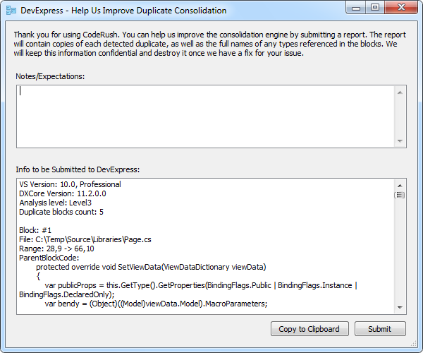CodeRush Help Us Improve Duplicate Consolidation Dialog