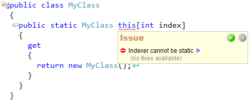 CodeRush - Indexer can not be static