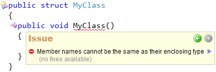 CodeRush - Member names can not be the same as their enclosing type