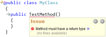CodeRush - Method must have a return type