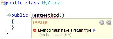 CodeRush - Method must have a return type