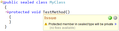 CodeRush - Protected member in sealed class will be private