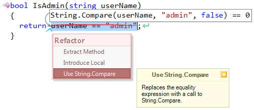 Use String.Compare refactoring preview