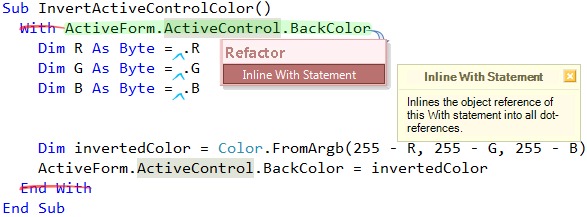 Refactor! Inline With Statement preview