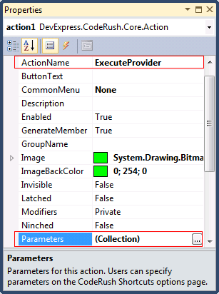 DevExpress DXCore Action properties