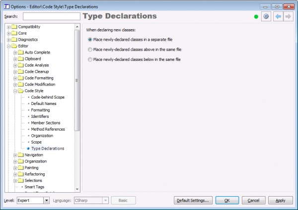 CodeRush Type Declarations options page