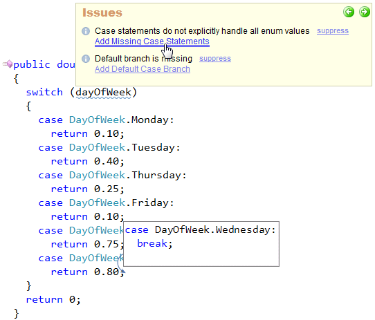 CodeRush Add Missing Case Statements preview