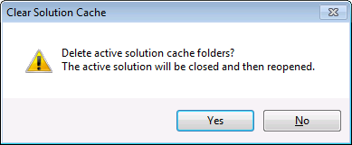 CodeRush Clear Solution Cache Dialog