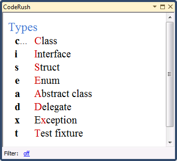 CodeRush Training Window - Type templates