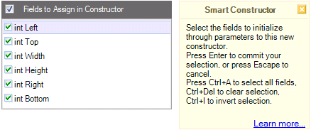 CodeRush Smart Constructor dialog