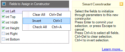 CodeRush Smart Constructor dialog with context menu