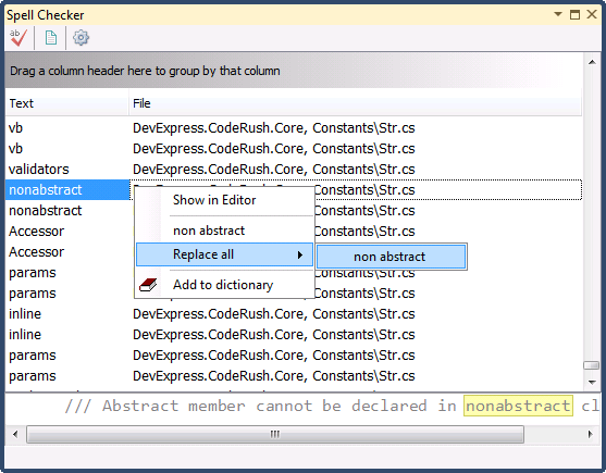 CodeRush Spell Checker tool window preview with context menu