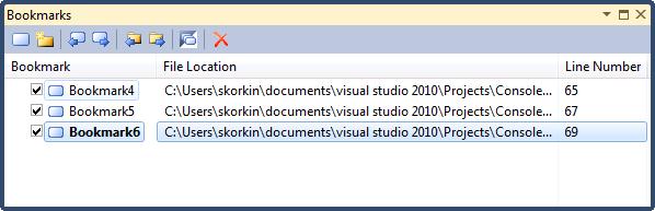 Visual Studio Bookmarks Tool Window