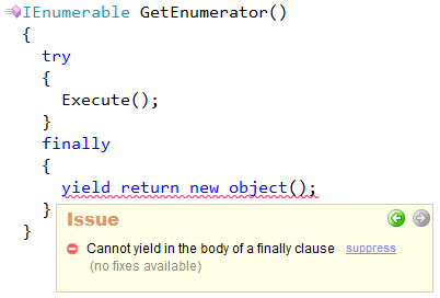 CodeRush - Cannot yield in the body of a finally clause