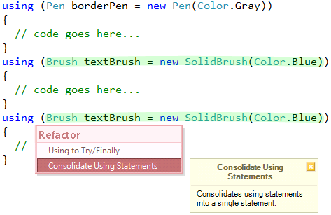 CodeRush Consolidate Using Statements refactoring preview
