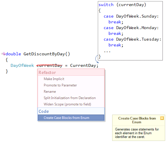 DevExpress Create Case Blocks from Enum provider preview