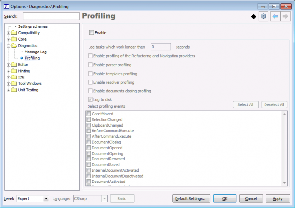 DevExpress Profiling options page