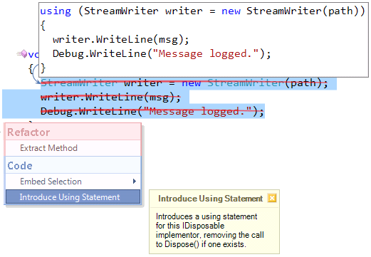 CodeRush Introduce Using Statement selection preview