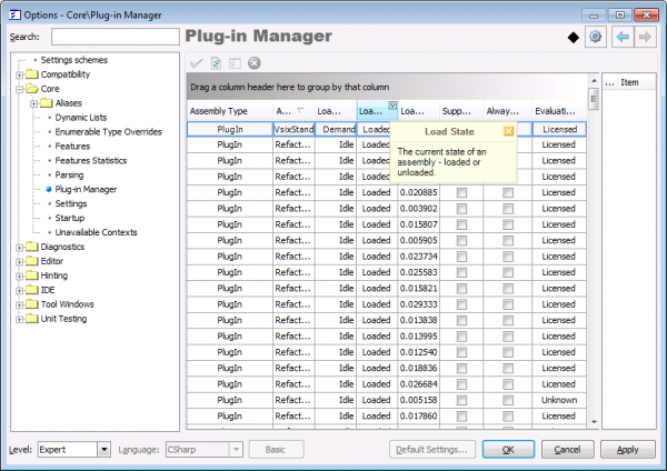 CodeRush Plug-In Manager options page