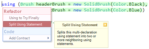 CodeRush Split Using Statement refactoring preview