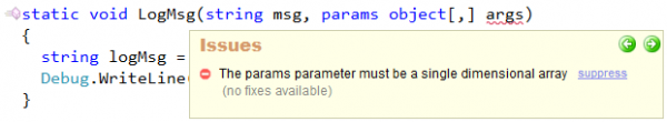 CodeRush - The params parameter must be a single-dimensional array