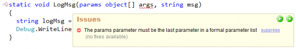 CodeRush - The params parameter must be last in a format parameters list