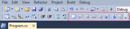 Visual Studio Text Editor Bookmarks Toolbar