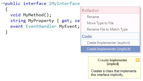 CodeRush Create Implementer on interface