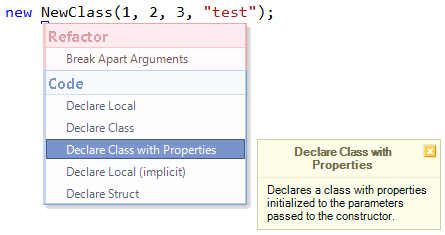 CodeRush Declare Class with Properties preview