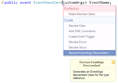 CodeRush Declare EventArgs Descendant event handler preview